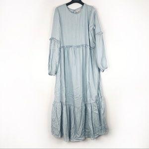 ASOS Denim Maternity Blue Denim Ruffle Maxi Dress